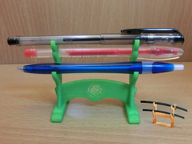 Pen Stand Designs : Japanese samurai design pen stand with makerbot logo by