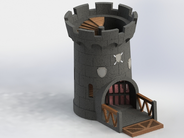 Castle Dice Tower With Moveable Gate By Lennarts Thingiverse