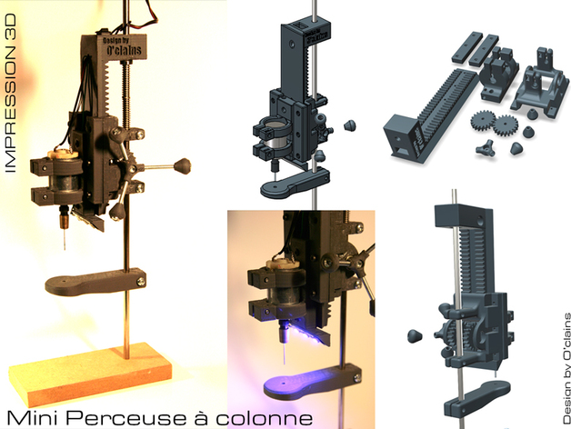 mini perceuse colonne mini drill press by oclains thingiverse. Black Bedroom Furniture Sets. Home Design Ideas
