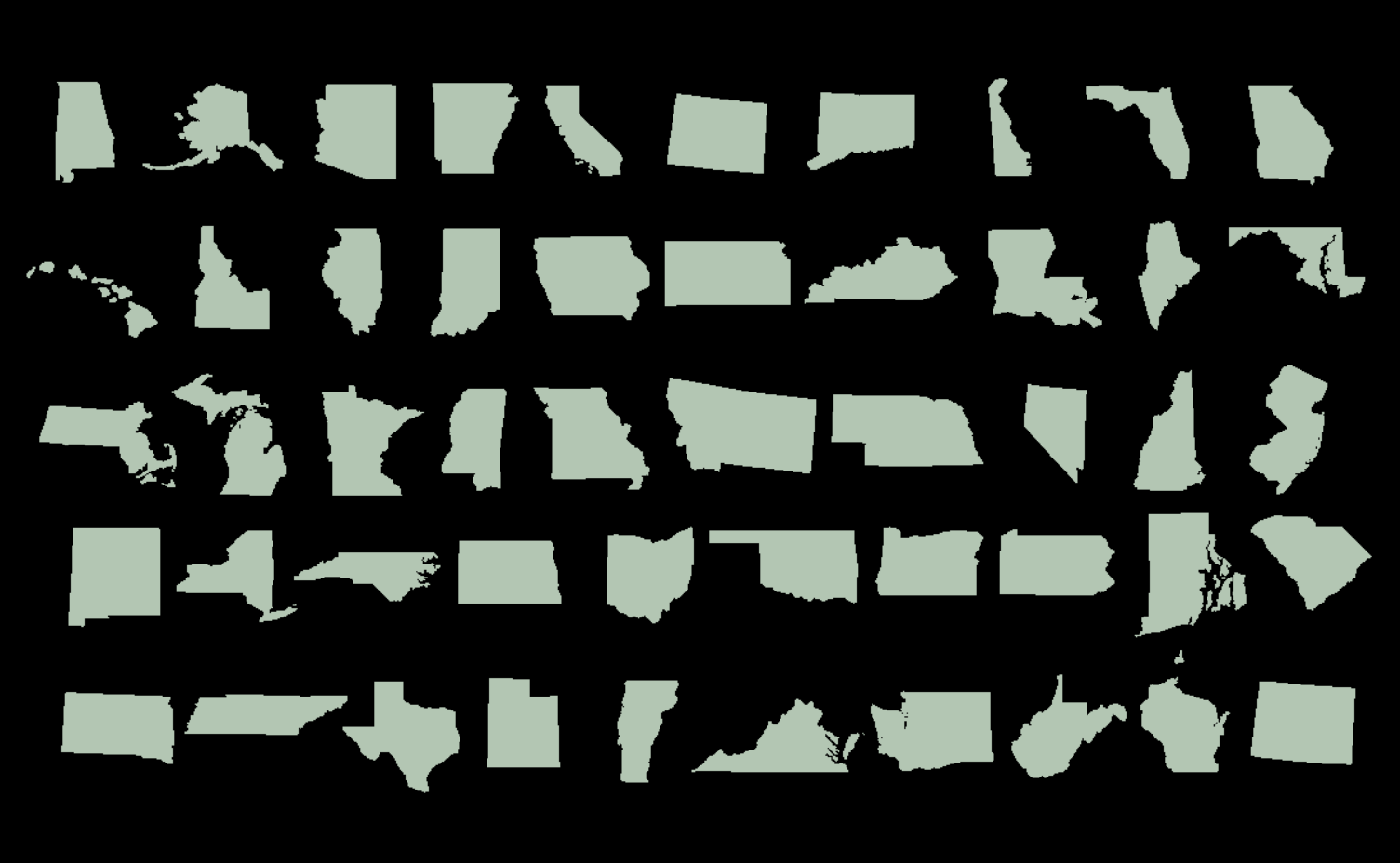 State Outlines - All 50 States - DXF files for laser cutting ...