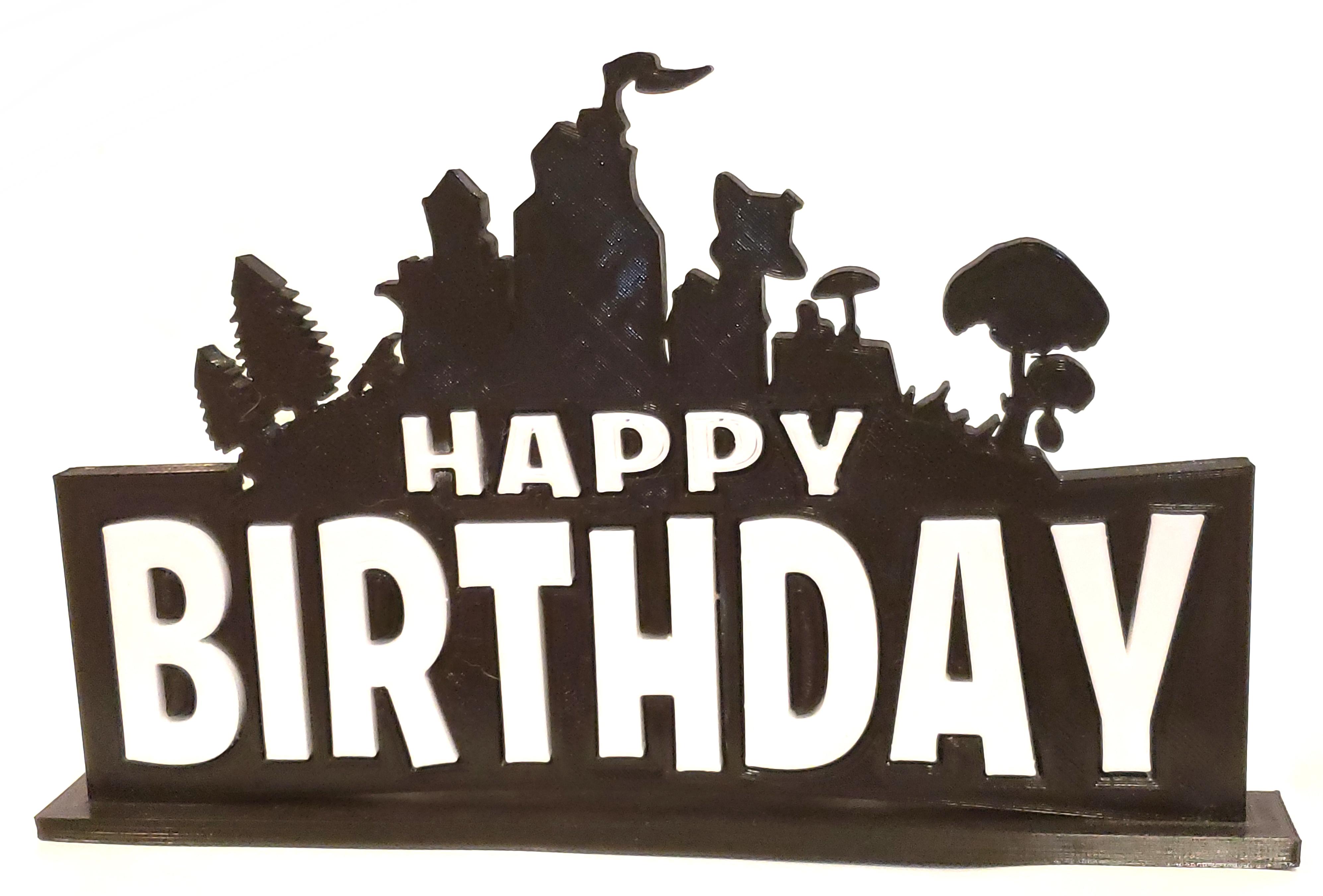 2 color fortnite themed happy birthday cake topper or stand alone - fortnite happy birthday pictures