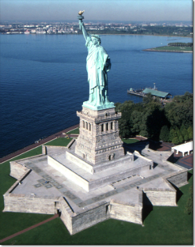 fort wood plinth for statue of liberty base building included by