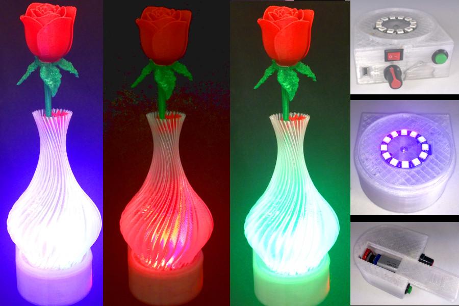 Thingiverse & Valentine Vase Dazzler: Color LED Light Base for Valentines ...