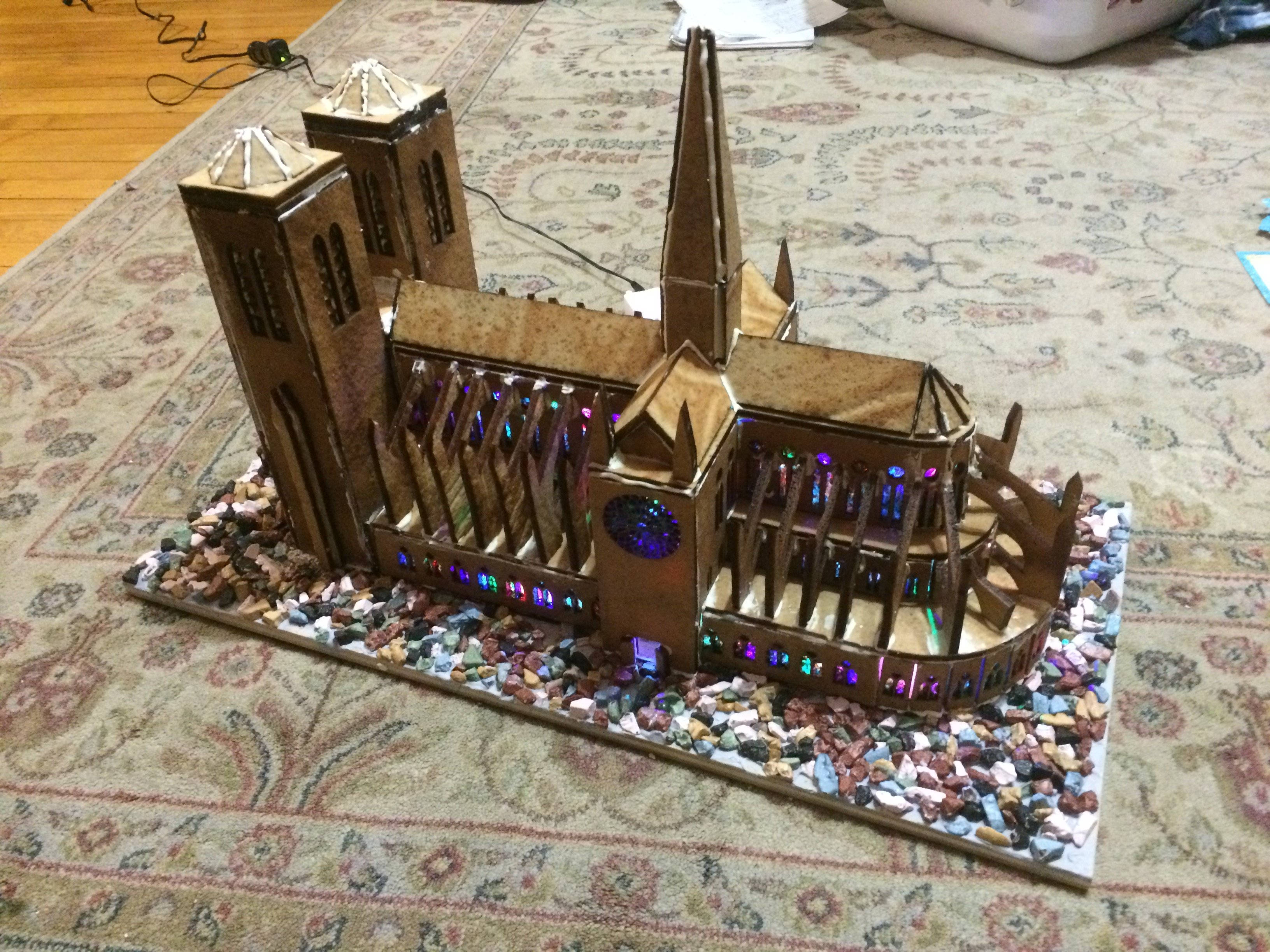 Laser cut Gingerbread Notre Dame cathedral by shasse