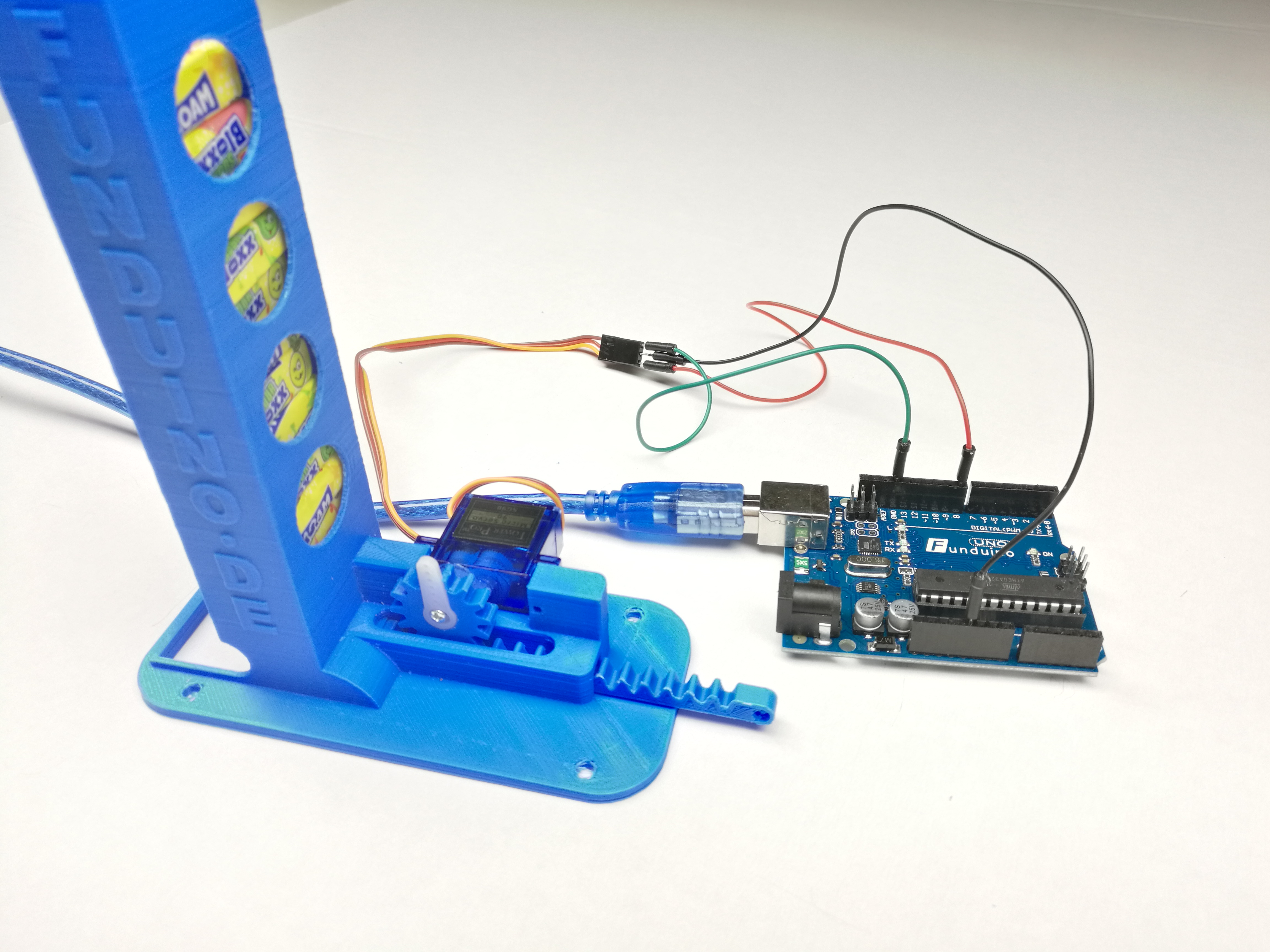 automatic maoam candy dispenser with servo arduino controlled by