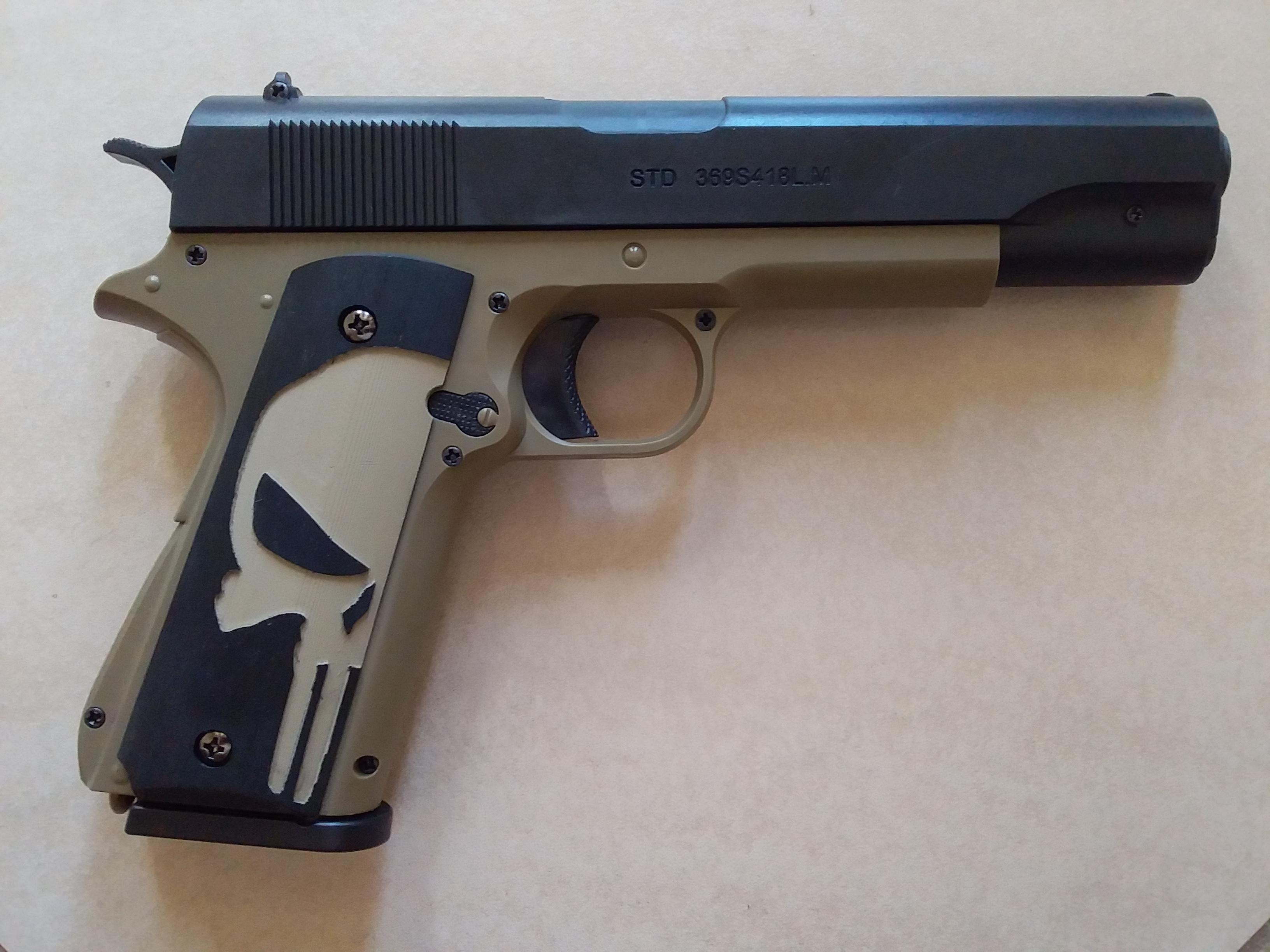 STD 1911 Manual Gel Blaster Punisher Grips by Superpoo - Thingiverse
