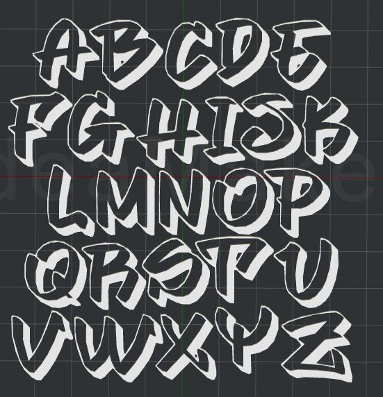 Graffiti Fonts Alphabet 2D Wall art by dtm2477 - Thingiverse
