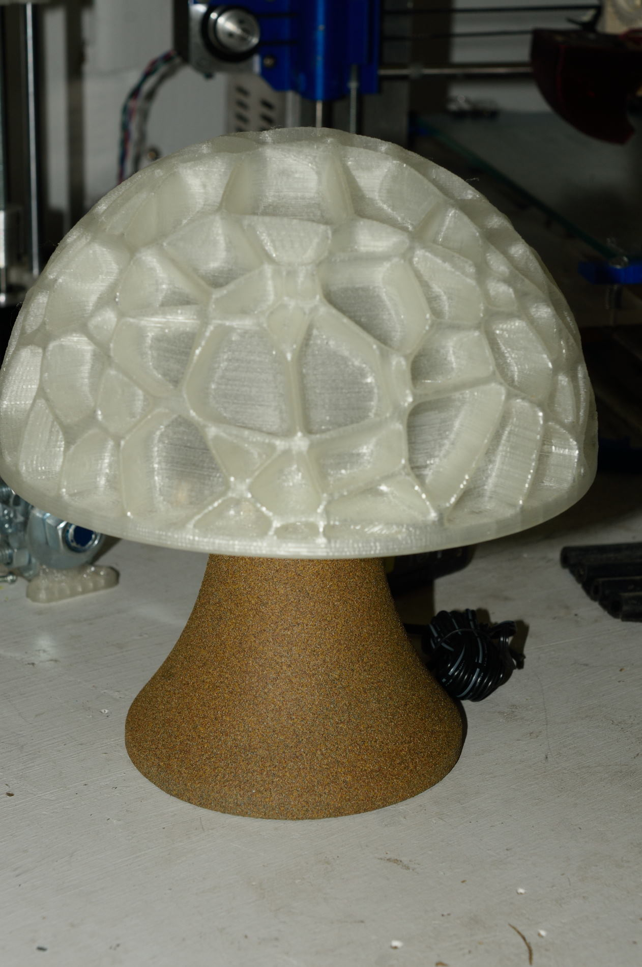 Voronoi Mushroom Lamp Scale with wire hole by tibuck - Thingiverse