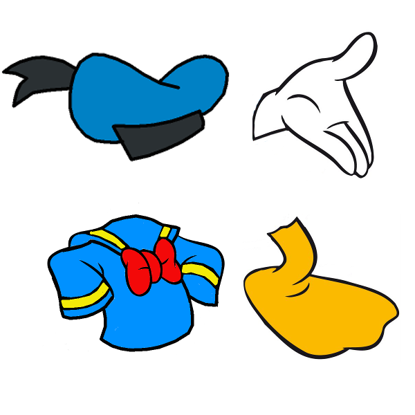 33b9e06e249 Donald duck hat hand shirt foot cookie cutters teamoliva png 600x600 Donald  duck no hat