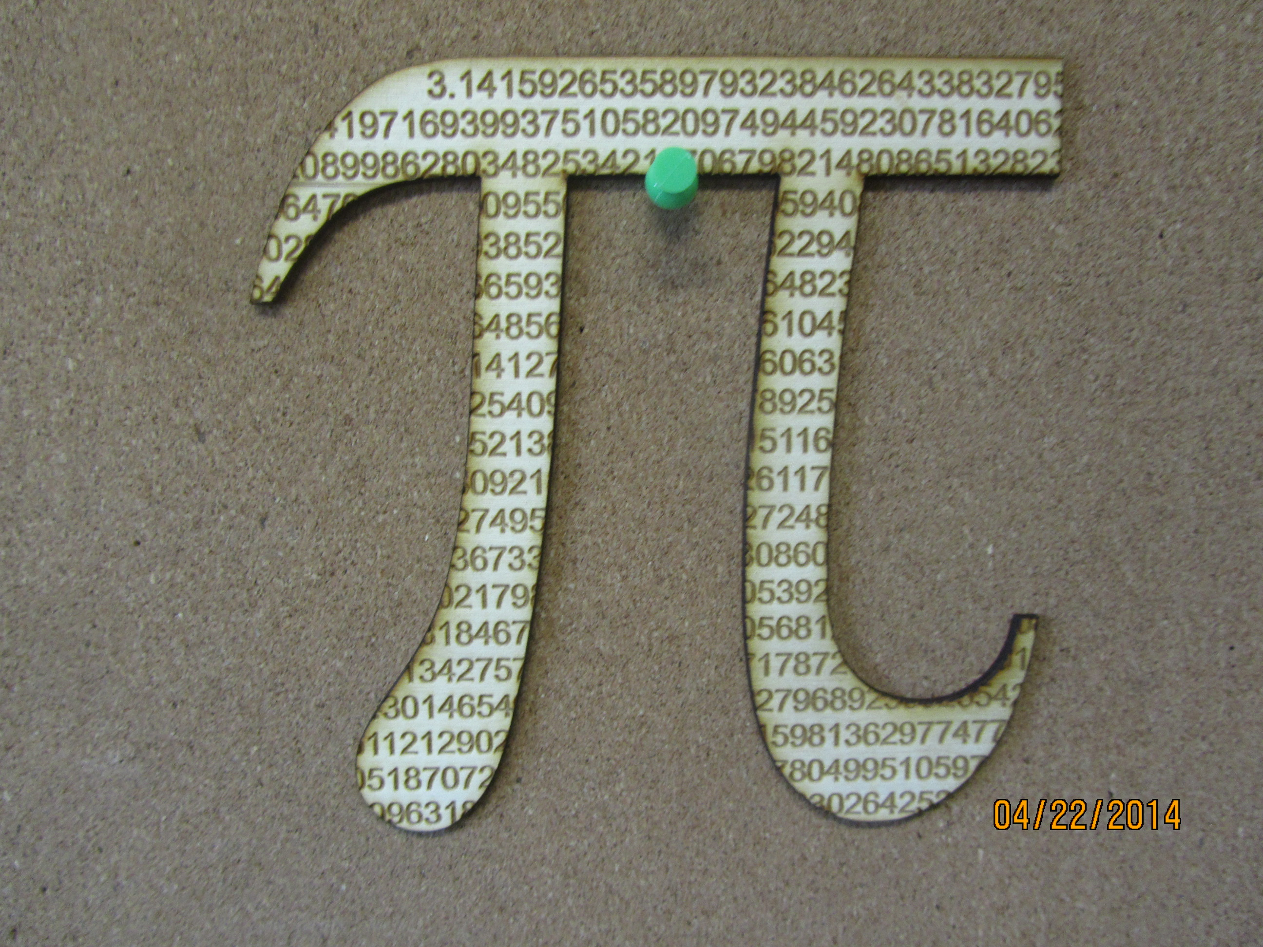 Laser Cut Pi Symbol Cut From 788 Digits Of The Never Ending Number