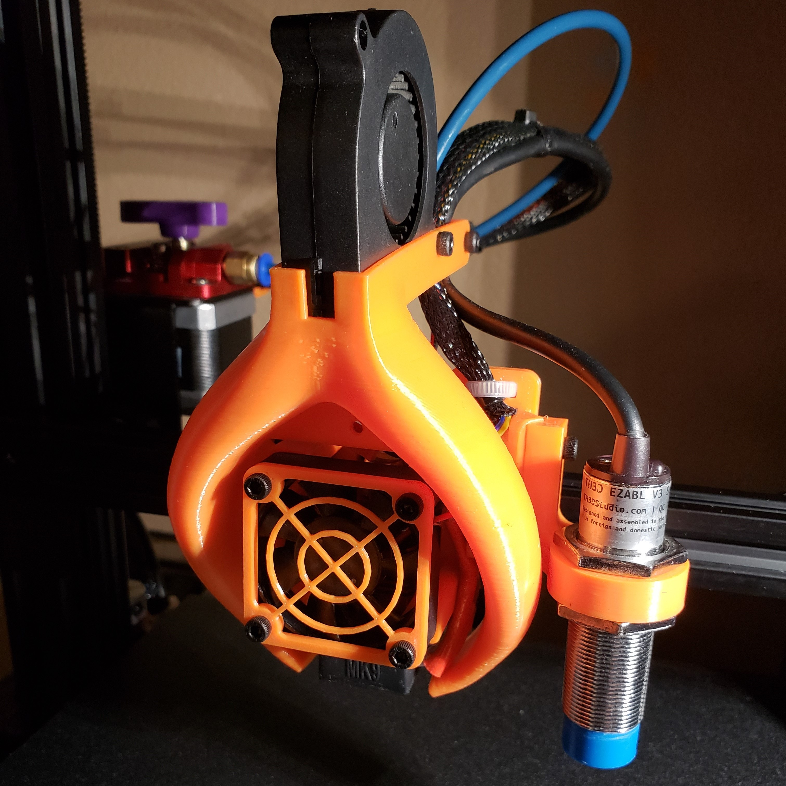 Ender 3: Smooth Fang Mount with 40mm duct and EZABL by