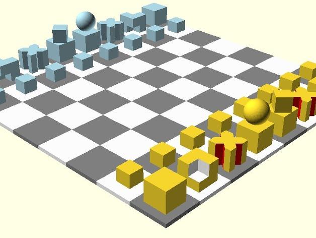 Bauhaus chess by marciofao thingiverse - Bauhaus chess board ...