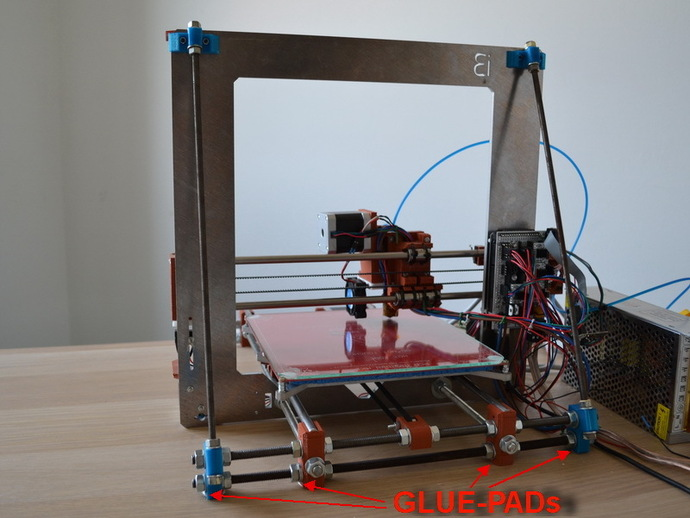 Stabilizer for Prusa i3 Z-axis - Diagonal bars + Gluepads