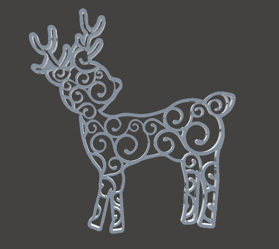 Christmas Tree Ornament - Reindeer Swirl