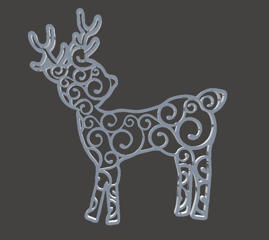 Christmas Tree Ornament - Reindeer Swirl