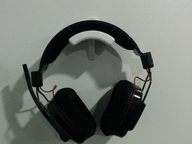 Wall mounted headphone headset holder by corneliousjd thingiverse - Wall mount headphone holder ...