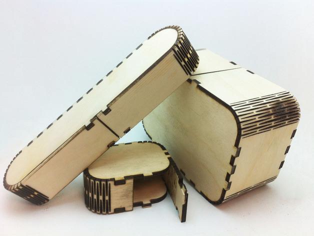 laser cut wood box template - parametric flexbox by bdahlem thingiverse