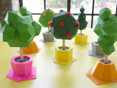 Low poly tree sculptures