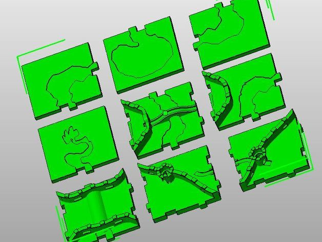 carcassonne game river add-on Interlocking 3D tiles by jfpion