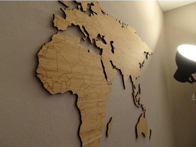 world map bamboo lasercut simplified worldmap by bazzz thingiverse. Black Bedroom Furniture Sets. Home Design Ideas