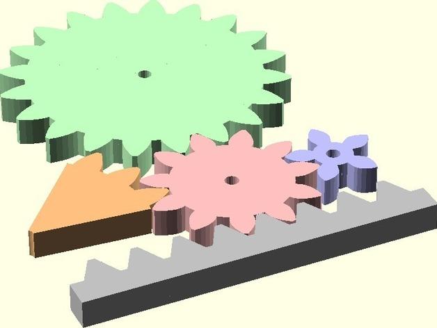 Public Domain Involute Parameterized Gears