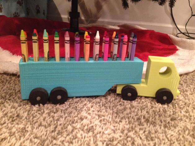 Semi Truck That S Also A Toy Car Holder : Semi crayon holder by corben thingiverse