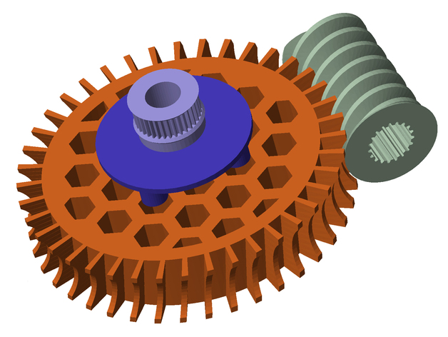 Full body Turntable, worm gear & spur cog, and final 35 tooth GT2 drive cog