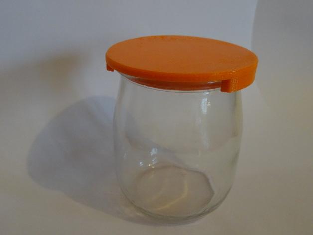 cover for glass yogurt jar couvercle pot de yaourt by neja5 thingiverse. Black Bedroom Furniture Sets. Home Design Ideas